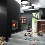 LORFLAM insert bois XP68 coffre gris cuisine ilot tabouret jouets escalier marches béton