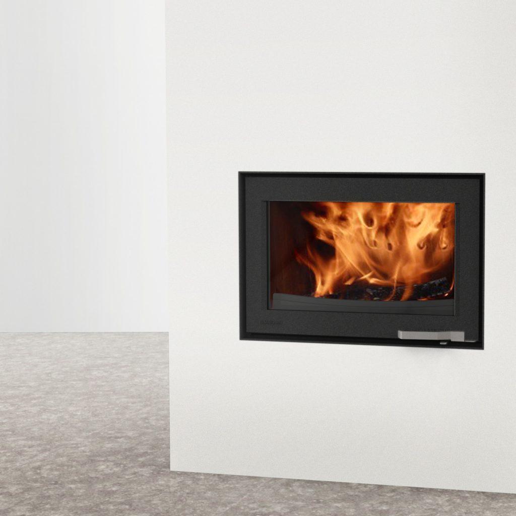 LORFLAM insert bois XP78 fonte porte grise fonte galbée poignée inox coffre blanc et sol béton